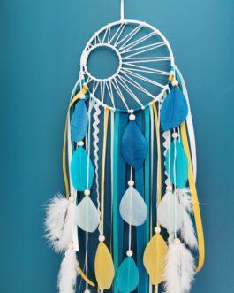 Attrape rêves / dreamcatcher / attrapeur de rêves coloris bleu canard, turquoise et moutarde avec tissage soleil