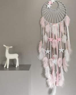 Attrape rêves / dreamcatcher / attrapeur de rêves coloris rose poudré et blanc avec tissage soleil