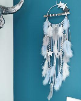 Attrape rêves / dreamcatcher / attrapeur de rêves bois flotté, coloris bleu ciel, blanc et gris