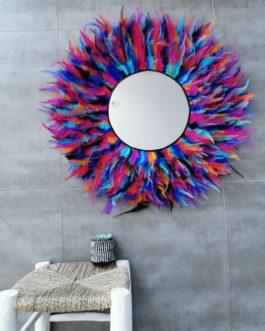 A GEANT Jujuhat / juju hat miroir en plume 75 cm de diamètre et miroir 30 cm – coloris mulitcolore