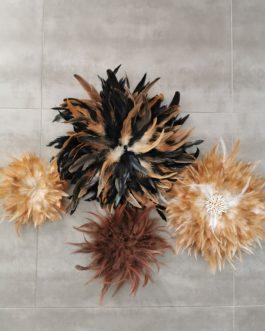 A Jujuhat / juju hat en plume 40 cm de diamètre – coloris noir et fauve