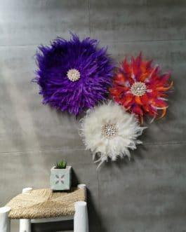 A EN STOCK Trio de juju hats en écru, violet et multicolore (diamètres 45/35/35)