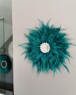 A EN STOCK Jujuhat / juju hat en plumes 35 cm de diamètre avec centre miroir – coloris bleu / vert canard
