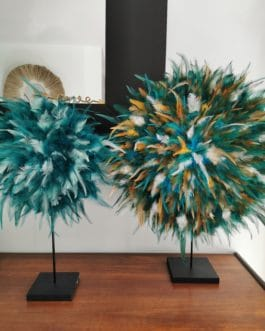 A Jujuhat / juju hat en plumes 45 cm de diamètre – coloris multicolore (bleu canard, beige, marron, turquoise)