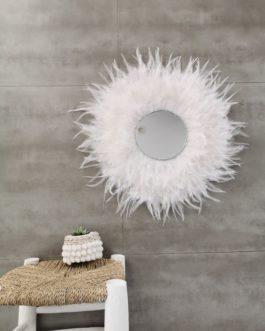A Jujuhat / juju hat miroir en plume 55 cm de diamètre et miroir 18.5 cm – coloris blanc