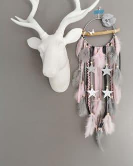 Attrape rêves / dreamcatcher / attrapeur de rêves bois flotté, coloris rose poudré et gris