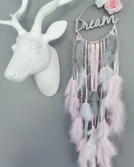 Attrape rêves / dreamcatcher / attrapeur de rêves bois coloris rose poudré et gris