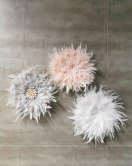 A EN STOCK Trio de juju hats douceur en blanc, rose poudré et gris (diamètres 35/35/35) (Copie)