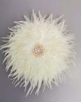 A EN STOCK Jujuhat / juju hat en plumes 45 cm de diamètre – coloris écru avec centre coquillages
