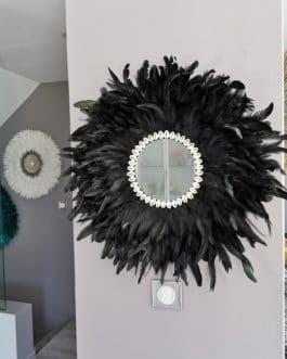 A Jujuhat / juju hat miroir XL en plumes 60 cm de diamètre – coloris noir avec entourage coquillages