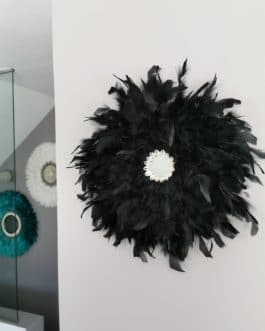 A Jujuhat / juju hat en plumes 40 cm de diamètre avec centre miroir – coloris noir