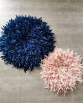 A Jujuhat / juju hat en plumes 50 cm de diamètre Taille L – coloris vieux rose centre coquillages