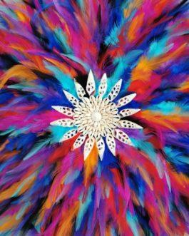A Jujuhat / juju hat en plumes 55 cm de diamètre Taille XL – coloris multicolore avec centre coquillages