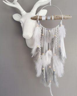 Attrape rêves / dreamcatcher / attrapeur de rêves bois flotté, coloris gris et blanc