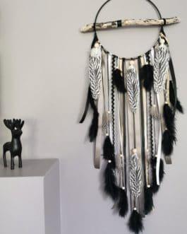 Attrape rêves / dreamcatcher / attrapeur de rêves bois flotté, coloris noir, gris et doré