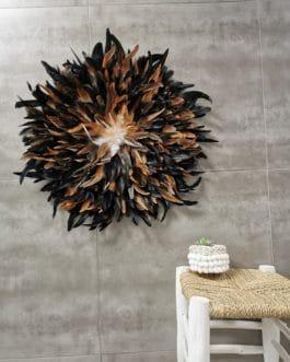 A Jujuhat / juju hat en plumes 60 cm de diamètre Taille XL – coloris noir et fauve