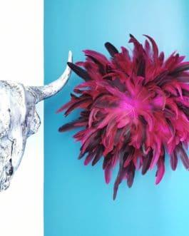 A Jujuhat / juju hat M en plumes 40 cm de diamètre – coloris rose fuschia et prune