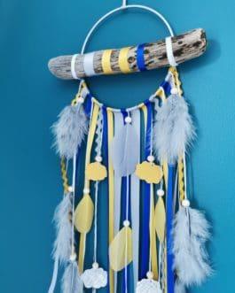 Attrape rêves / dreamcatcher / attrapeur de rêves bois flotté, coloris bleu roi, moutarde et gris