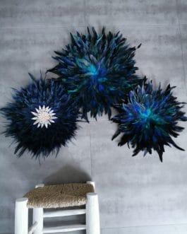 A Trio de juju hats «peacock» coloris bleu vert paon et bleu nuit  (diamètres 65/45/35) (Copie)