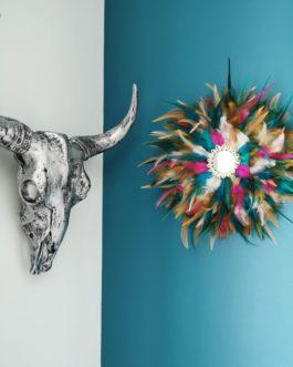 A Jujuhat / juju hat M en plumes 35 cm de diamètre – coloris multicolore avec centre miroir et coquillages