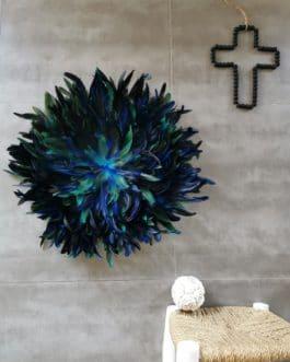 A juju hat «peacock» XXL coloris bleu vert paon (diamètres 65 cm)