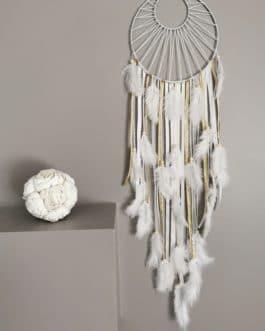Attrape rêves / dreamcatcher / attrapeur de rêves coloris or,beige et blanc avec tissage soleil