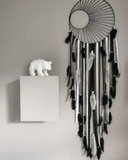 Attrape rêves / dreamcatcher / attrapeur de rêves XL coloris noir et blanc avec tissage soleil