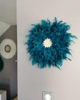 A juju hat coloris bleu canard centre coquillages (diamètre 40 cm)