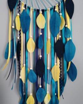 Attrape rêves / dreamcatcher / attrapeur de rêves coloris bleu canard et moutarde avec tissage soleil