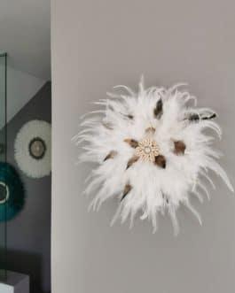 A juju hat M coloris blanc pur avec touches de fauve et marron (diamètre 35 cm)