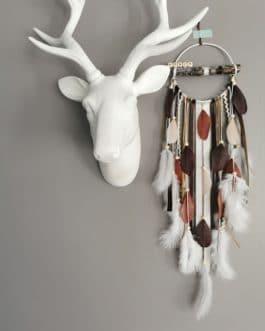 Attrape rêves / dreamcatcher / attrapeur de rêves bois flotté, coloris beige,fauve, marron et blanc (prénom personnalisable)