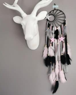 A Attrape rêves / dreamcatcher / attrapeur de rêves coloris rose poudré, gris, noir et argent avec tissage soleil