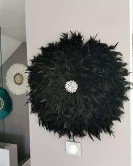 A juju hat XL coloris noir avec centre cawries argent (diamètre 60 cm)