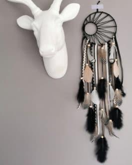 A Attrape rêves / dreamcatcher / attrapeur de rêves coloris fauve,beige et noir et argent avec tissage soleil