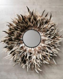 A Jujuhat / juju hat miroir XL en plumes 55 cm de diamètre – coloris fauve, marron, beige avec miroir 20 cm