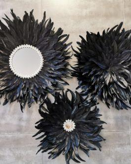 A TRIO de juju hats noirs avec centre miroir (Diamètre 65/55/45)