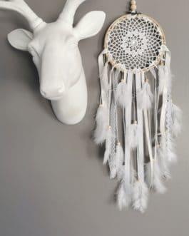 A Attrape rêves / dreamcatcher / attrapeur de rêves dentelle, coloris blanc et beige