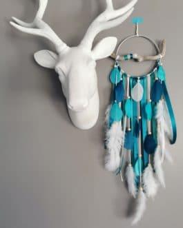 Attrape rêves / dreamcatcher / attrapeur de rêves bois flotté, coloris bleu turquoise, bleu canard et beige