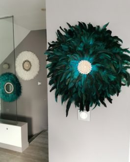 A juju hat coloris vert peacock centre coquillages (diamètre 64 cm)