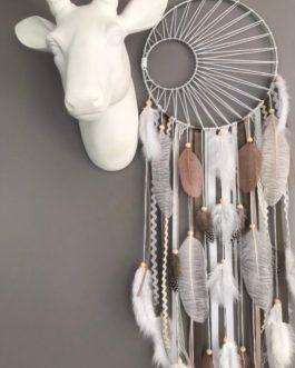 A Attrape rêves / dreamcatcher / attrapeur de rêves coloris taupe, beige et blanc avec tissage soleil (Copie)