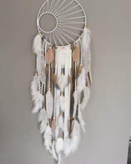 AA Attrape-rêves dreamcatcher aveca tissage soleil, coloris beige, blanc et taupe