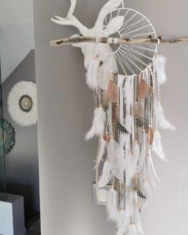 AA Attrape-rêves dreamcatcher avec tissage soleil et bois flotté dans les tons de beige, blanc et taupe