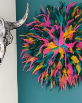 AA jujuhat / juju hat XL en plumes naturelles coloris multicolore – bleu canard, rose, jaune et turquoise