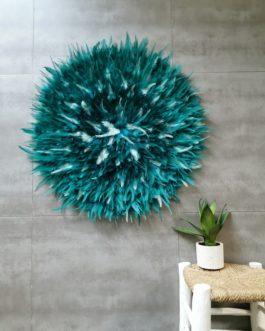 Taille XXL jujuhat / juju hat handmade en plumes naturelles  75 cm de diamètre – coloris bleu vert canard et mint